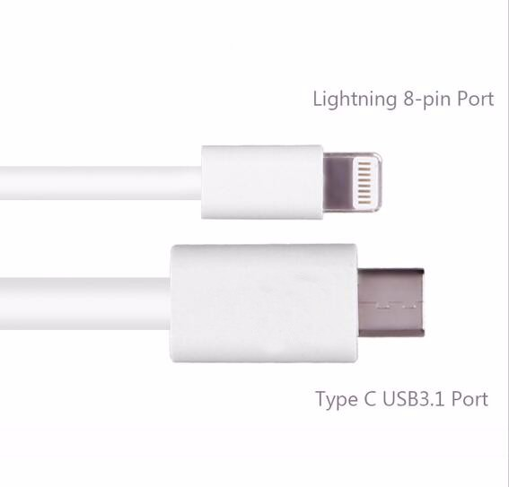 Super Fast USB 8 pin Type C Cord White/white Color Date Charging Type C 3.1 Cable