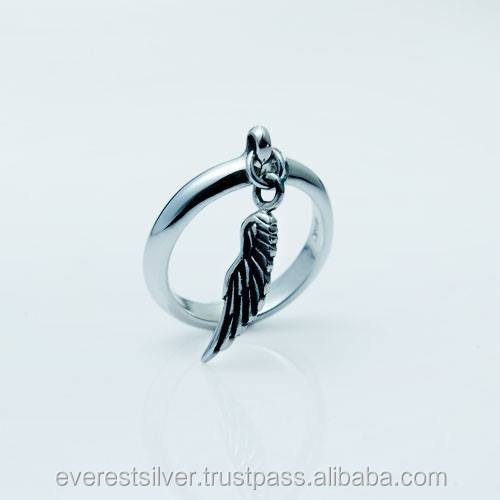 Fashion and factory direct sale for custom feather silver ring modern 925