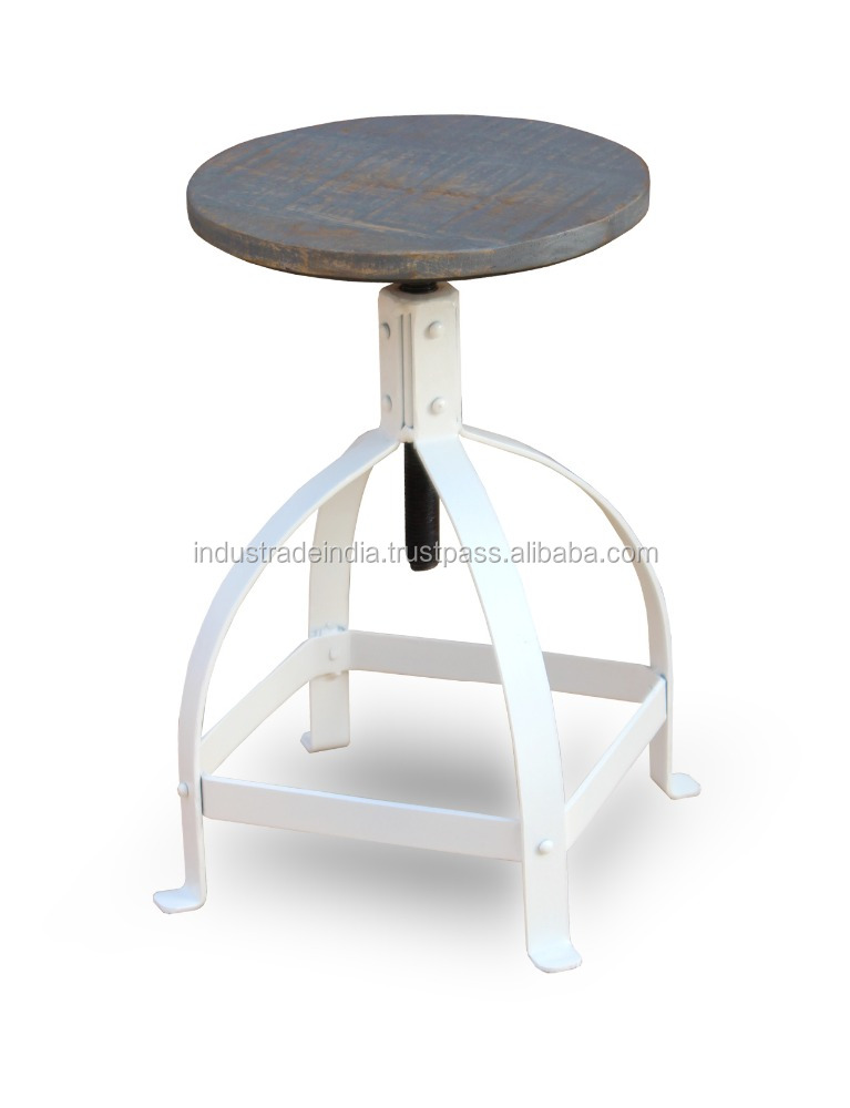Vintage Industrial Metal Adjustable Stool