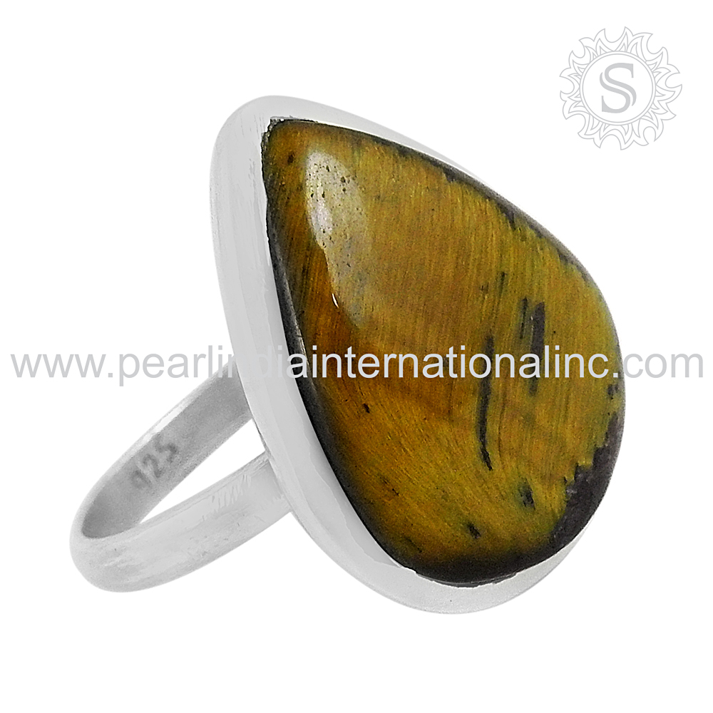 Brighten Design 925 Sterling Silver Jewelry Tiger Eye Ring Wholesale Silver Jewelry Indian Gemstone Supplier