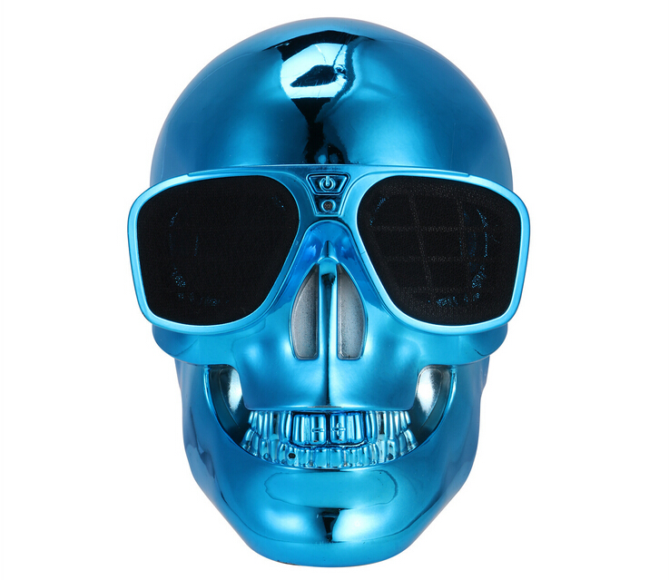 2016 New Plastic SKULL head Bluetooth NFC Speaker Sunglass Skull Wireless NFC Subwoofer Speakers for iphone/Samsung/HTC