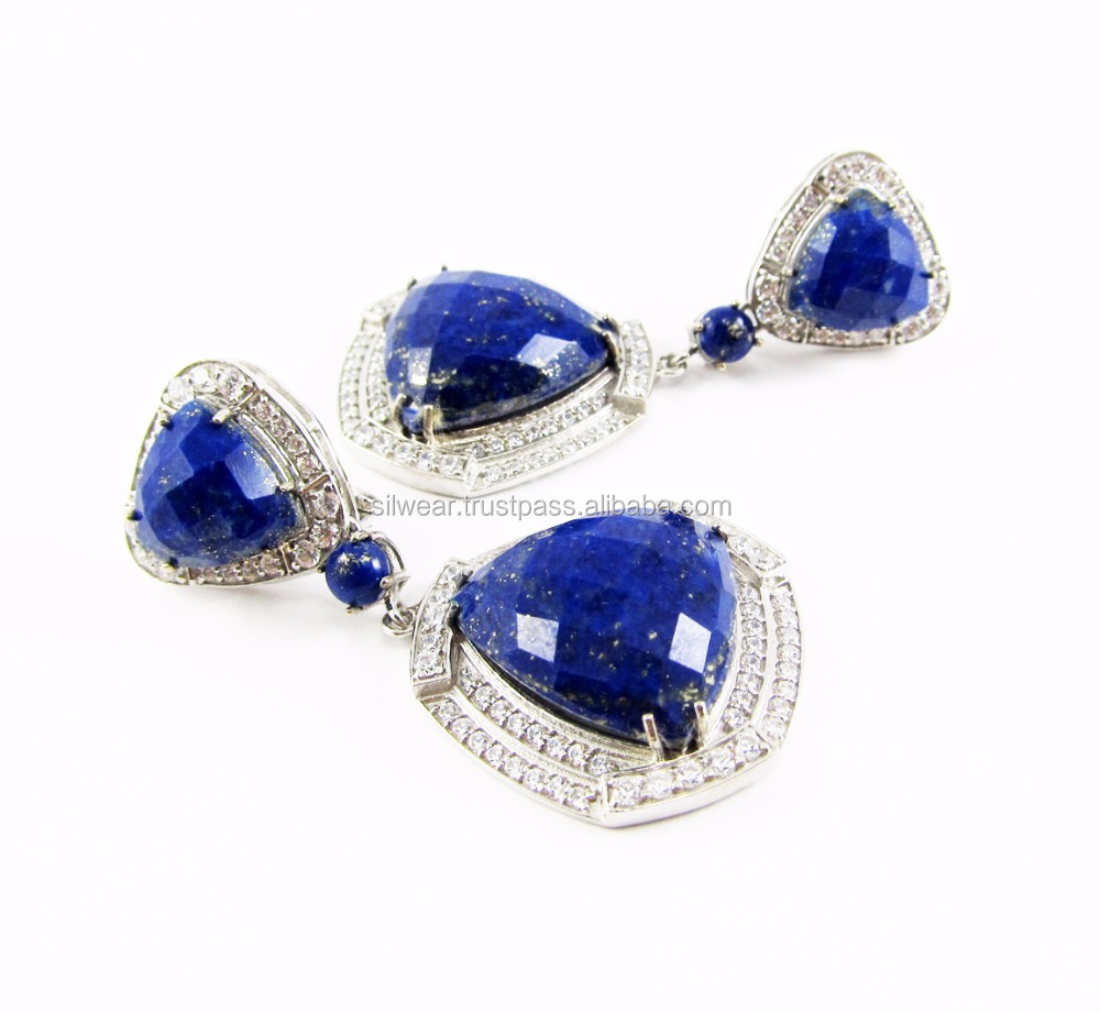 Natural Lapis Cz 925 Sterling Silver Dangler Two Tone Victorian Earrings