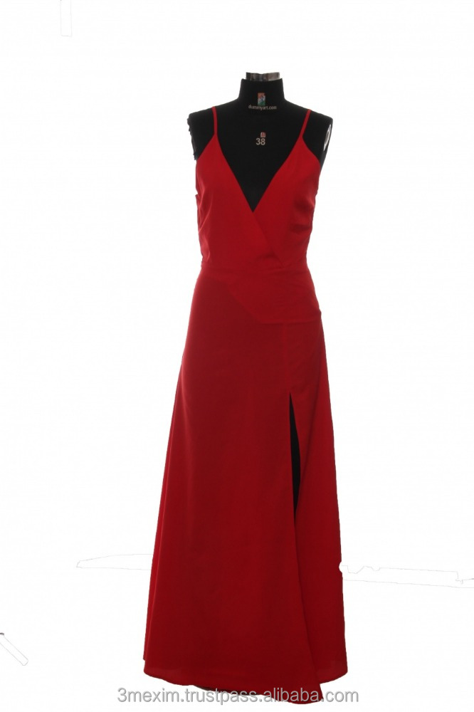 Women Red Color Spaghetti Strap Casual and Evening Party Wear Maxi Dress