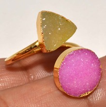 Pink & Yellow Druzy Lovely Look Two Stone Gold Plated Rings