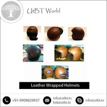 Premium Quality Half Face Leather Wrap Helmet Available with Standard Quality Export Packing