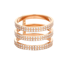 18kt Rose Gold <span class=keywords><strong>3</strong></span> Strati <span class=keywords><strong>di</strong></span> Diamanti <span class=keywords><strong>Anello</strong></span>, L'<span class=keywords><strong>anello</strong></span> disponibile in tutti e Tre Oro Rosa/Giallo/Bianco