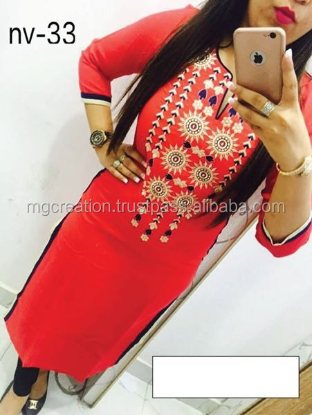 Party wear cotton embroidery kurti for ladies