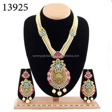 American diamond CZ stone fusion adorable pendant set with pearl beads -Bollywood style pendant set- Latest indian jewellery