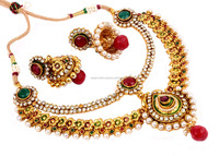 Green-maroon Indian Ethnic Jewellery-Floral Shape One Gram Gold Plated Necklace Set-Bollywood Style Jewelry-2 String Style set