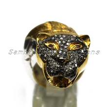 Lion Shape Diamond 925 Sterling Silver Pave Setting Ring With Gold Plated, Wholesale Silver Jewelry, Discounted Silver Jewelry
