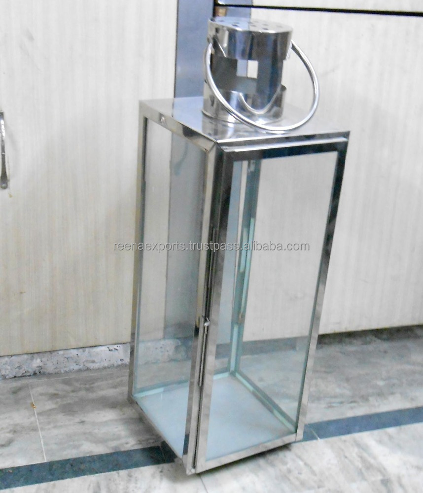 stainless steel outdoor large clear glass hurricane lantern / hurricane candle holder lanterns Manufacturer from India
