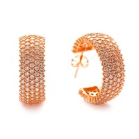 5 Rows Zircon Rose Gold Plated Handmade Turkish Silver Earring, wholesale Jewelry
