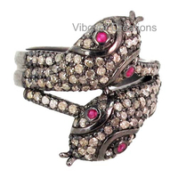 Wholesale 925 Solid Silver Diamond Snake Ring Latest Design Diamond Ring