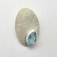 Natural Blue Topaz unique Gemstone Oval Designer Pendant