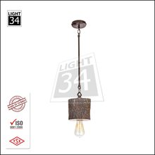 Wooden Pendant Light Turkish Wood Hanging Lamp with Edison Bulb