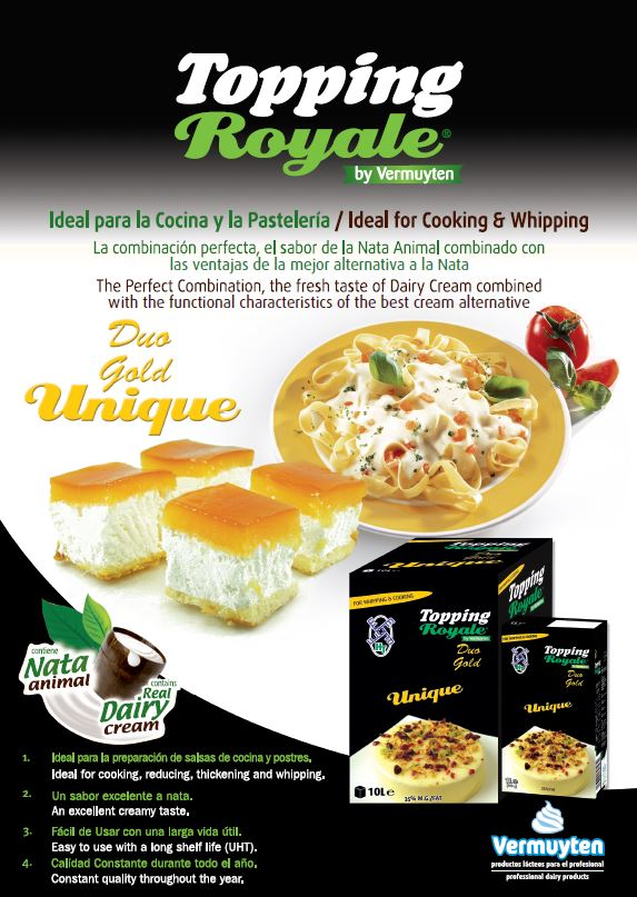 Topping Royale Duo Gold Unique Blended Whipping and Cooking Cream Alternative 1L & 10L