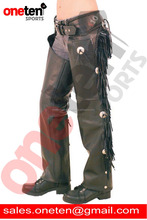 top grain leather chaps with fringe and conchos / Leather Chaps / Unisex Leather Chaps