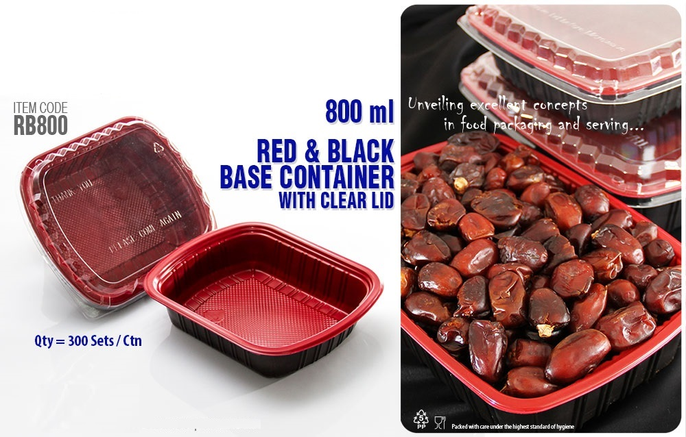 Disposable Red and Black base Container with Clear Lid for Food Packaging