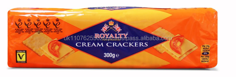 ROYALTY CREAM CRACKER BISCUITS - 300g Packs - Case of 18