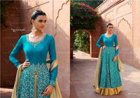 BLUE BHAGALPURI TOP WITH EMBELLISHED NECK & ALL OVER EMBROIDERY AT LOWER PART OF TOP / DUPATTA