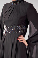 BLACK ABAYA WITH NECK AND WAIST BELT EMBROIDERY