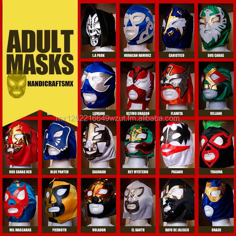 Mexican Wrestling Mask. ADULT. Ideal for Parties, Sporting Events or Costume Parties. Various models of masks!