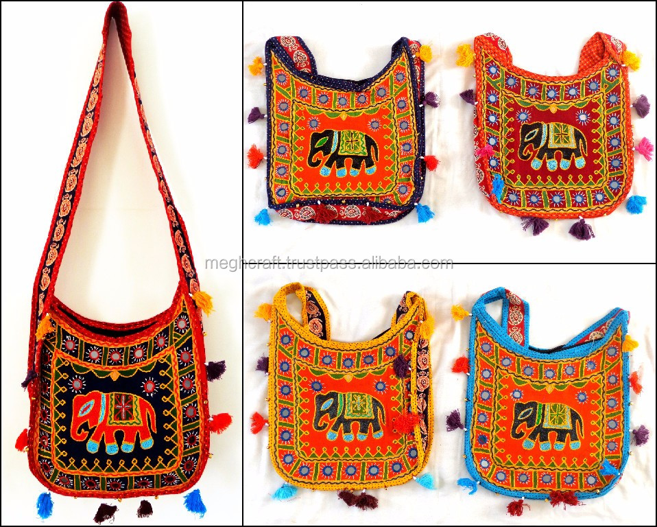 Wholesale Lace work handbag-Golden Embroidered Shoulder bag-Banjara Style Handbag-Peacock Handbag -Tote bag (4 piece lot)