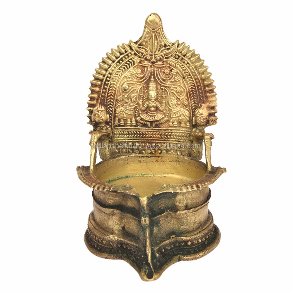 Indian Ethnic Ritual Bronze Oil Lamp 5.5X 3.4 Inches BOL-102