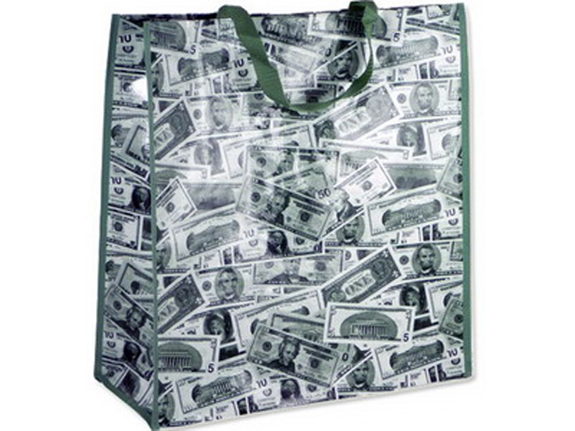 BAG SHOPPING US DOLLAR W/ZIP, #39615