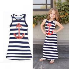 2017 Cotton printed striped blue baby girl party dress children frocks designs