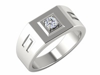 New 14kt White Gold SGL Certified Natural Diamond Solitaire Prong Setting Mens Rings