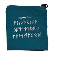Runes Printed Blue Velvet Pouch : Customized Printed Velvet Bags and Pouch