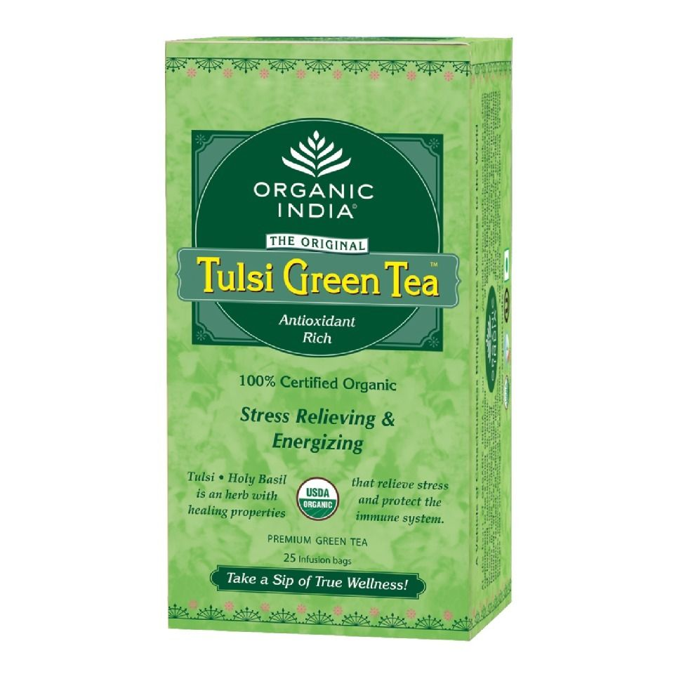 Organic India Tulsi Green 25 Tea Bags Basil herbal Tea