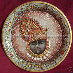 Indian Marble Thali Plate Krishna Handicraft Religious Gift Decor Hindu God Puja Miniature Painting Radha Shreenathji