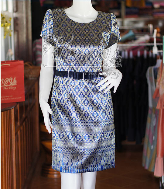 Dark blue silk dress with Thai painting