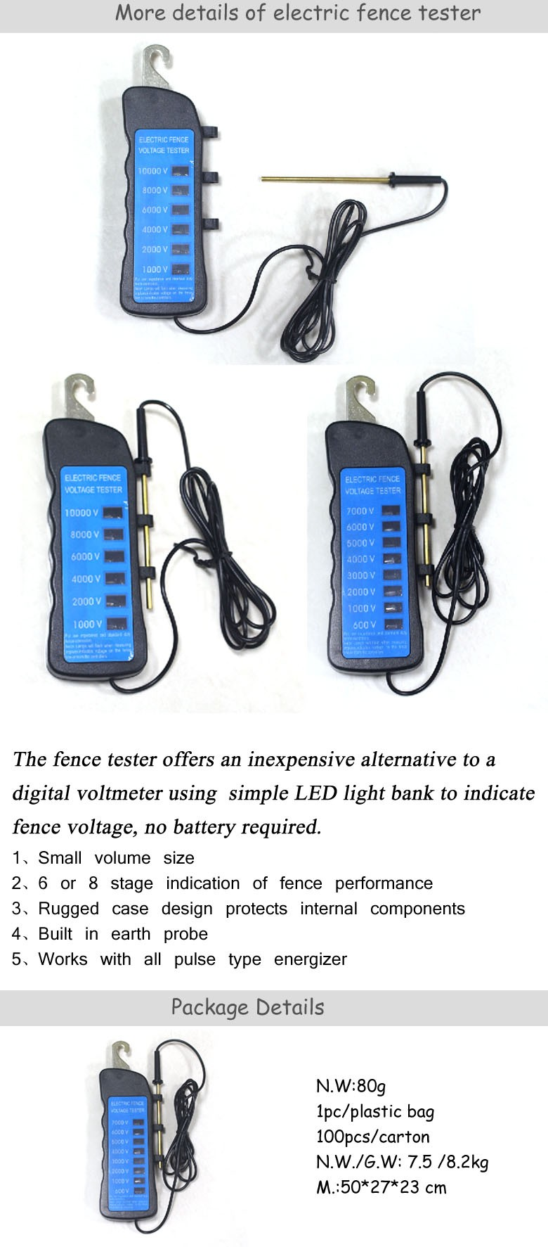 Eight  Voltage Level Testing 600-7000V Neon Light Fence Tester