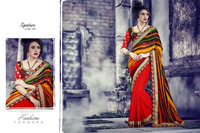 Efficacious Multi Color Georgette Designer Saree/fancy saree blouse designs/wholesale saree