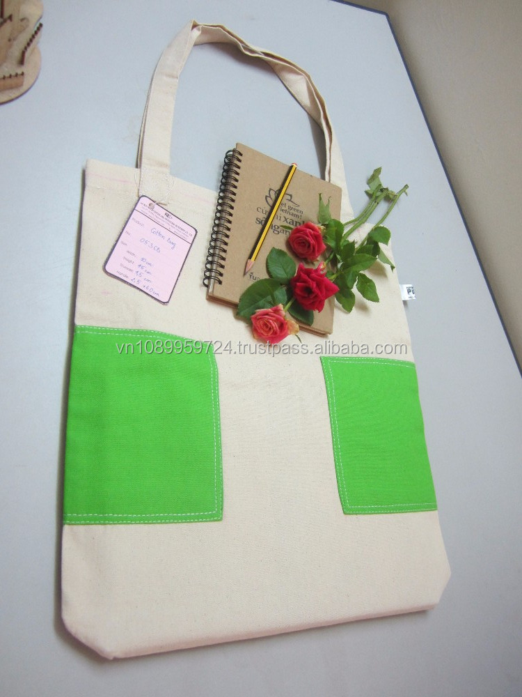 Foldable recyclable reuseable eco-friendly cotton tote bag