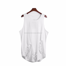 Stylish look distressed men's tank tops/High quality curved bottom distressed tank tops/Distressed cotton tank tops