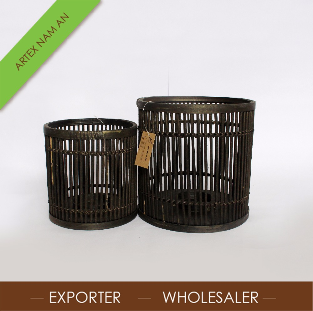 Natural Bamboo handicrafts camping lantern / Black Bamboo Lantern Wholesale in Vietnam