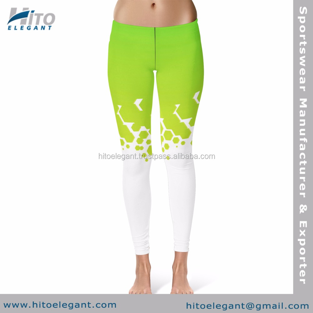 New Fashionable Custom Sublimated Polyester Spandex Mesh Yoga Pants Gym Fitness Leggings HE-LT-2815