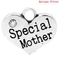 "Charm Pendants ""Special Mother"" Heart Antique Silver Clear Rhinestone 16x14mm,Hole:Approx 2.7x3mm,20PCs"