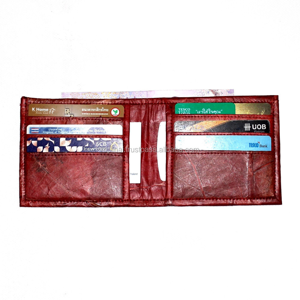MEN WALLET OEM WHOLESALE MAN WALLET ECO INNOVATION TEAK LEAF BUSINESS BILLFOLD WALLET