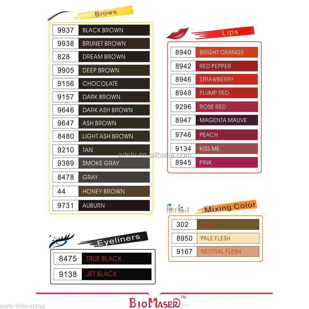 Tattoo ink type permanent makeup pigment tattoo ink