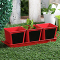 Garden Powder Coated Metal Planters | Chalk Board Herb Planter With Base Red 4 Pcs