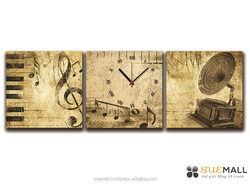 Home Decoration With Old Music Three Panels Painting Wall Clock