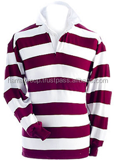rugby jersey, custom made rugby jersey,polo collar stripped cotton rugby jersey