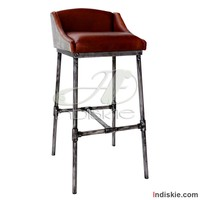 Iron Scaffold Leather Stool ndustrial Bar Counter Stool Restaurant Bar Stools