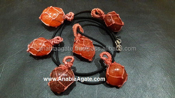 Red Aventurine Netted Tumble Pendant With Cord : Wholesale tumbel Pendant For sell