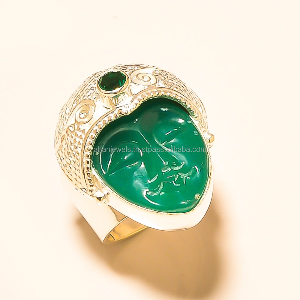 "1.00x0.85"" , SAKOTA MINES EMERALD FACE , CHROME DIOPSIDE - Cabochon Gemstone - 925 STERLING SILVER RING"